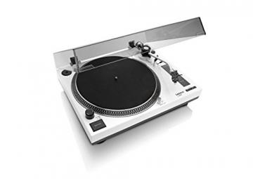 Lenco L-3808 White Plattenspieler mit Direktantrieb, USB-Aufnahme, USB-Eingang, MMC, Digitalisierung über PC, abnehmbare Staubschutzhaube - 1
