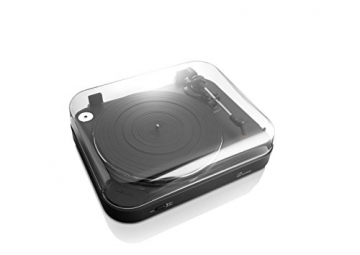 Lenco L-84 Plattenspieler mit USB-Anschluss inkl. Stereo-Vorverstärker für PC (USB-Ausgang, MMC, Riemenantrieb, abnehmbare Staubschutzhaube) schwarz - 3