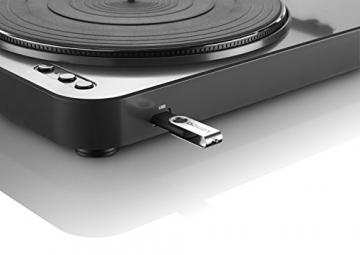 Lenco L-85 Plattenspieler mit USB Direct Encoding/Vorverstärker (USB-Eingang, MMC, Track Splitting, Riemenantrieb, halbautomatisch, abnehmbare Staubschutzhaube) schwarz - 4