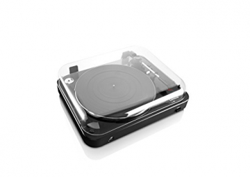 Lenco L-85 Plattenspieler mit USB Direct Encoding/Vorverstärker (USB-Eingang, MMC, Track Splitting, Riemenantrieb, halbautomatisch, abnehmbare Staubschutzhaube) schwarz - 6