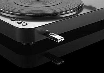 Lenco L-85 Plattenspieler mit USB Direct Encoding/Vorverstärker (USB-Eingang, MMC, Track Splitting, Riemenantrieb, halbautomatisch, abnehmbare Staubschutzhaube) schwarz - 9