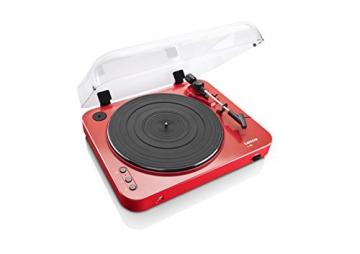 Lenco L-85 Plattenspieler mit USB Direct Encoding/Vorverstärker (USB-Eingang, MMC, Track Splitting, Riemenantrieb, halbautomatisch, abnehmbare Staubschutzhaube) rot - 1