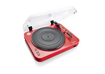 Lenco L-85 Plattenspieler mit USB Direct Encoding/Vorverstärker (USB-Eingang, MMC, Track Splitting, Riemenantrieb, halbautomatisch, abnehmbare Staubschutzhaube) rot - 2