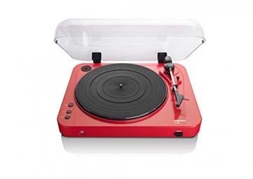 Lenco L-85 Plattenspieler mit USB Direct Encoding/Vorverstärker (USB-Eingang, MMC, Track Splitting, Riemenantrieb, halbautomatisch, abnehmbare Staubschutzhaube) rot - 3