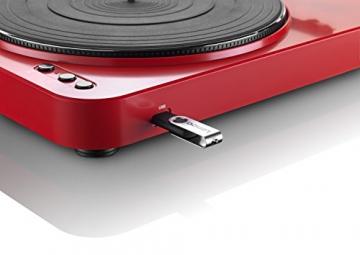 Lenco L-85 Plattenspieler mit USB Direct Encoding/Vorverstärker (USB-Eingang, MMC, Track Splitting, Riemenantrieb, halbautomatisch, abnehmbare Staubschutzhaube) rot - 4