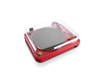 Lenco L-85 Plattenspieler mit USB Direct Encoding/Vorverstärker (USB-Eingang, MMC, Track Splitting, Riemenantrieb, halbautomatisch, abnehmbare Staubschutzhaube) rot - 6