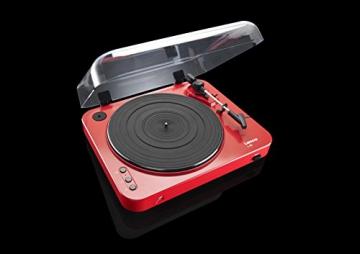 Lenco L-85 Plattenspieler mit USB Direct Encoding/Vorverstärker (USB-Eingang, MMC, Track Splitting, Riemenantrieb, halbautomatisch, abnehmbare Staubschutzhaube) rot - 7