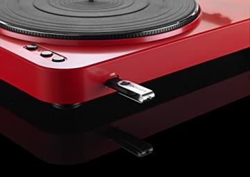 Lenco L-85 Plattenspieler mit USB Direct Encoding/Vorverstärker (USB-Eingang, MMC, Track Splitting, Riemenantrieb, halbautomatisch, abnehmbare Staubschutzhaube) rot - 9