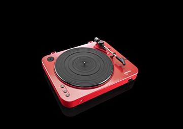 Lenco L-85 Plattenspieler mit USB Direct Encoding/Vorverstärker (USB-Eingang, MMC, Track Splitting, Riemenantrieb, halbautomatisch, abnehmbare Staubschutzhaube) rot - 10