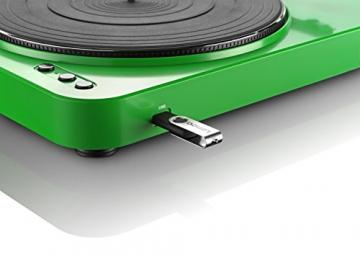 Lenco L-85 Plattenspieler mit USB Direct Encoding/Vorverstärker (USB-Eingang, MMC, Track Splitting, Riemenantrieb, halbautomatisch, abnehmbare Staubschutzhaube) grün - 4