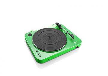 Lenco L-85 Plattenspieler mit USB Direct Encoding/Vorverstärker (USB-Eingang, MMC, Track Splitting, Riemenantrieb, halbautomatisch, abnehmbare Staubschutzhaube) grün - 5