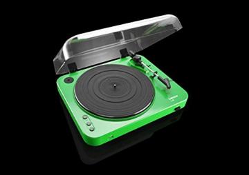 Lenco L-85 Plattenspieler mit USB Direct Encoding/Vorverstärker (USB-Eingang, MMC, Track Splitting, Riemenantrieb, halbautomatisch, abnehmbare Staubschutzhaube) grün - 7