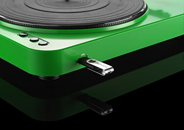 Lenco L-85 Plattenspieler mit USB Direct Encoding/Vorverstärker (USB-Eingang, MMC, Track Splitting, Riemenantrieb, halbautomatisch, abnehmbare Staubschutzhaube) grün - 9