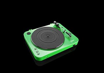 Lenco L-85 Plattenspieler mit USB Direct Encoding/Vorverstärker (USB-Eingang, MMC, Track Splitting, Riemenantrieb, halbautomatisch, abnehmbare Staubschutzhaube) grün - 10