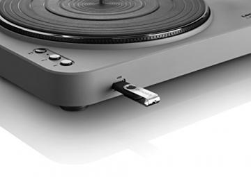 Lenco L-85 Plattenspieler mit USB Direct Encoding/Vorverstärker (USB-Eingang, MMC, Track Splitting, Riemenantrieb, halbautomatisch, abnehmbare Staubschutzhaube) matt-grau - 4