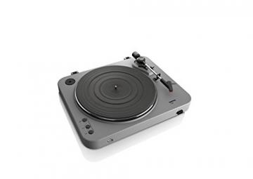 Lenco L-85 Plattenspieler mit USB Direct Encoding/Vorverstärker (USB-Eingang, MMC, Track Splitting, Riemenantrieb, halbautomatisch, abnehmbare Staubschutzhaube) matt-grau - 5