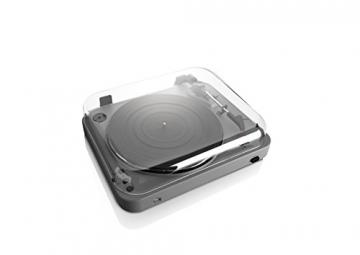 Lenco L-85 Plattenspieler mit USB Direct Encoding/Vorverstärker (USB-Eingang, MMC, Track Splitting, Riemenantrieb, halbautomatisch, abnehmbare Staubschutzhaube) matt-grau - 6