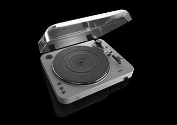 Lenco L-85 Plattenspieler mit USB Direct Encoding/Vorverstärker (USB-Eingang, MMC, Track Splitting, Riemenantrieb, halbautomatisch, abnehmbare Staubschutzhaube) matt-grau - 7