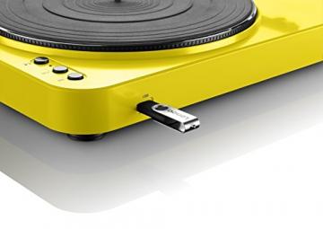 Lenco L-85 Plattenspieler mit USB Direct Encoding/Vorverstärker (USB-Eingang, MMC, Track Splitting, Riemenantrieb, halbautomatisch, abnehmbare Staubschutzhaube) gelb - 4