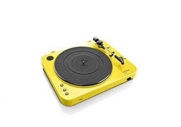 Lenco L-85 Plattenspieler mit USB Direct Encoding/Vorverstärker (USB-Eingang, MMC, Track Splitting, Riemenantrieb, halbautomatisch, abnehmbare Staubschutzhaube) gelb - 5