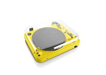 Lenco L-85 Plattenspieler mit USB Direct Encoding/Vorverstärker (USB-Eingang, MMC, Track Splitting, Riemenantrieb, halbautomatisch, abnehmbare Staubschutzhaube) gelb - 6