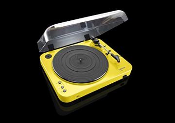 Lenco L-85 Plattenspieler mit USB Direct Encoding/Vorverstärker (USB-Eingang, MMC, Track Splitting, Riemenantrieb, halbautomatisch, abnehmbare Staubschutzhaube) gelb - 7
