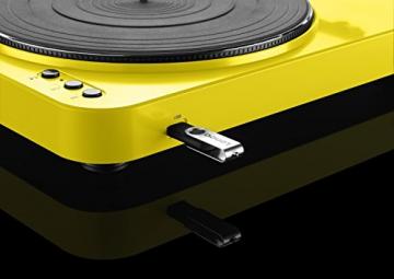 Lenco L-85 Plattenspieler mit USB Direct Encoding/Vorverstärker (USB-Eingang, MMC, Track Splitting, Riemenantrieb, halbautomatisch, abnehmbare Staubschutzhaube) gelb - 9
