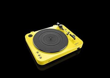 Lenco L-85 Plattenspieler mit USB Direct Encoding/Vorverstärker (USB-Eingang, MMC, Track Splitting, Riemenantrieb, halbautomatisch, abnehmbare Staubschutzhaube) gelb - 10