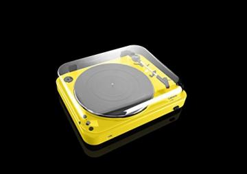 Lenco L-85 Plattenspieler mit USB Direct Encoding/Vorverstärker (USB-Eingang, MMC, Track Splitting, Riemenantrieb, halbautomatisch, abnehmbare Staubschutzhaube) gelb - 11