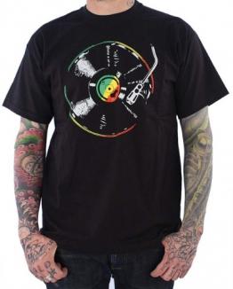 Herren T-shirt Reggae Rasta Turntables Rot Grun Gelb - 1