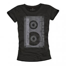 Musik T-Shirt mit Aufdruck KASSETTE schwarz Damen Größe M - 1