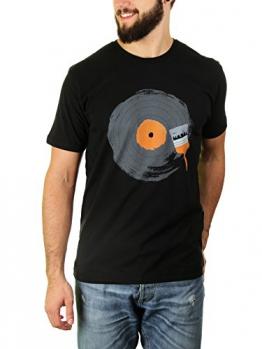 Schalplatten-Nostalgie - Herren T-Shirt von Kater Likoli, Gr. L, Deep Black - 1