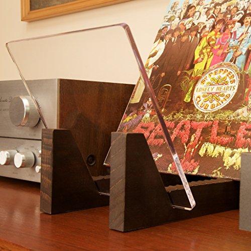 Favorit Kaiu Schallplatten-Ständer aus massivem Holz mit kristallklarem XU86